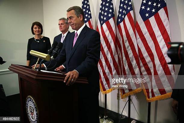 S Speaker of the House Rep John Boehner speaks as House Majority Leader Rep Kevin McCarthy and Rep Cathy McMorris Rodgers listen during a news...
