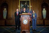 S Speaker of the House Rep John Boehner speaks as House Minority Leader Nancy Pelosi and Israeli Prime Minister Benjamin Netanyahu listen at a press...