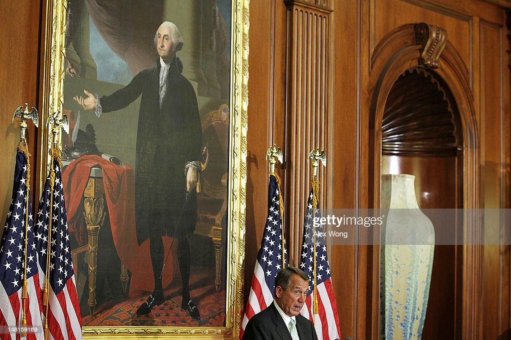 U.S. Speaker of the House Rep. <a gi-track='captionPersonalityLinkClicked' href=/galleries/search?phrase=John+Boehner&family=editorial&specificpeople=274752 ng-click='$event.stopPropagation()'>John Boehner</a> (R-OH) speaks during a ceremony to award the Congressional Gold Medal posthumously to Constantino Brumidi July 11, 2012 on Capitol Hill in Washington, DC. Brumidi was awarded with the medal for his many artistic contributions to the United States Capitol.
