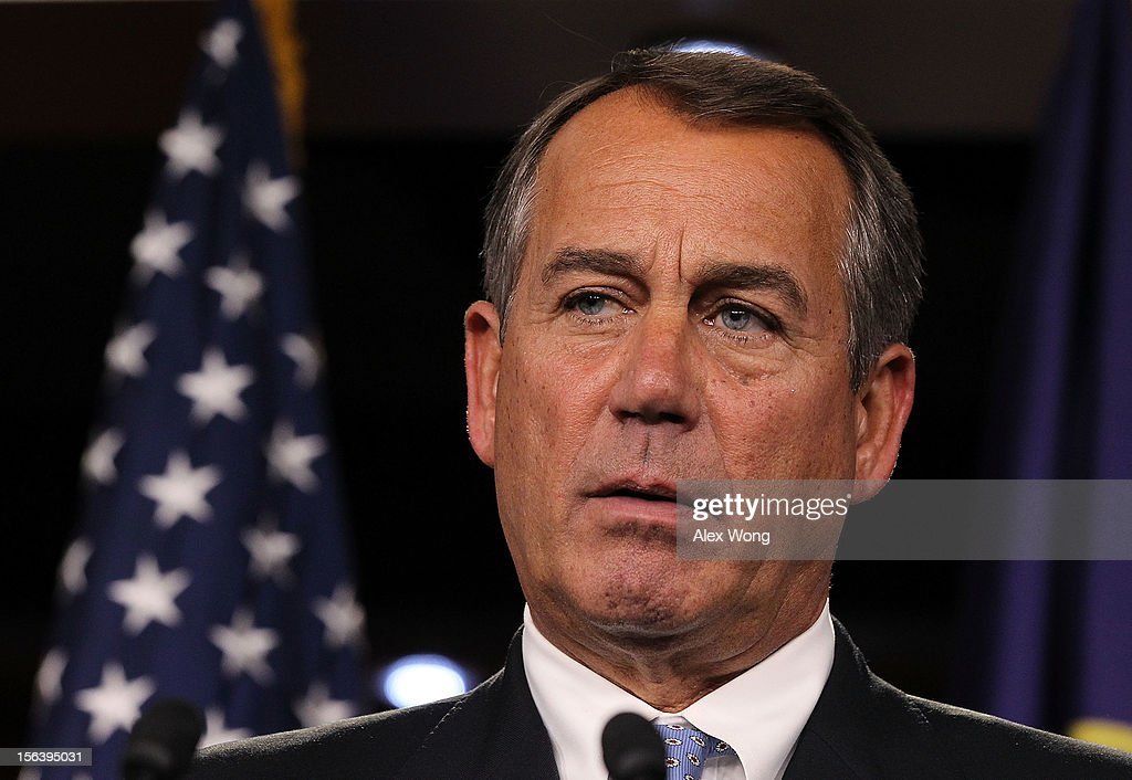 U.S. Speaker of the House Rep. <a gi-track='captionPersonalityLinkClicked' href=/galleries/search?phrase=John+Boehner&family=editorial&specificpeople=274752 ng-click='$event.stopPropagation()'>John Boehner</a> (R-OH) speaks during a news conference November 14, 2012 on Capitol Hill in Washington, DC. The House Republicans have picked their choices of leadership for the 113th Congress.