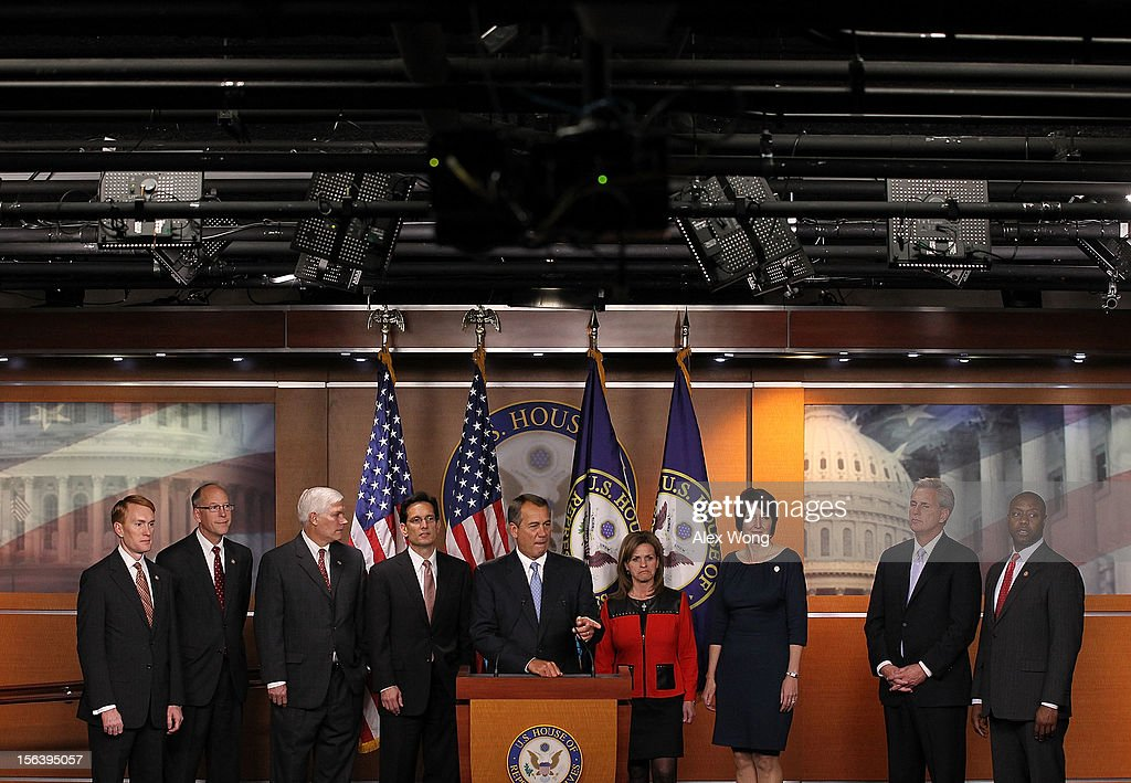 U.S. Speaker of the House Rep. John Boehner (R-OH) (C) speaks during a news conference to introduce the House Republican leadership for the next Congress November 14, 2012 on Capitol Hill in Washington, DC. The House Republicans have picked their choices of leadership for the 113th Congress.