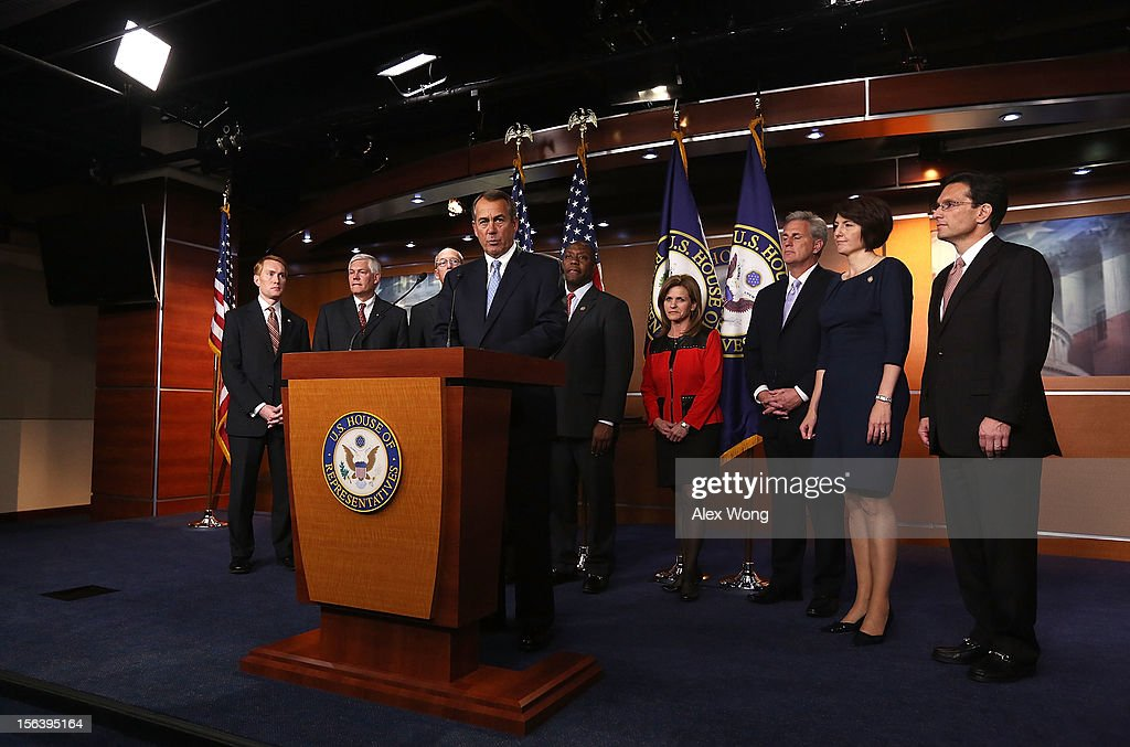 U.S. Speaker of the House Rep. John Boehner (R-OH) (4th L) speaks during a news conference to introduce the House Republican leadership for the next Congress November 14, 2012 on Capitol Hill in Washington, DC. The House Republicans have picked their choices of leadership for the 113th Congress.