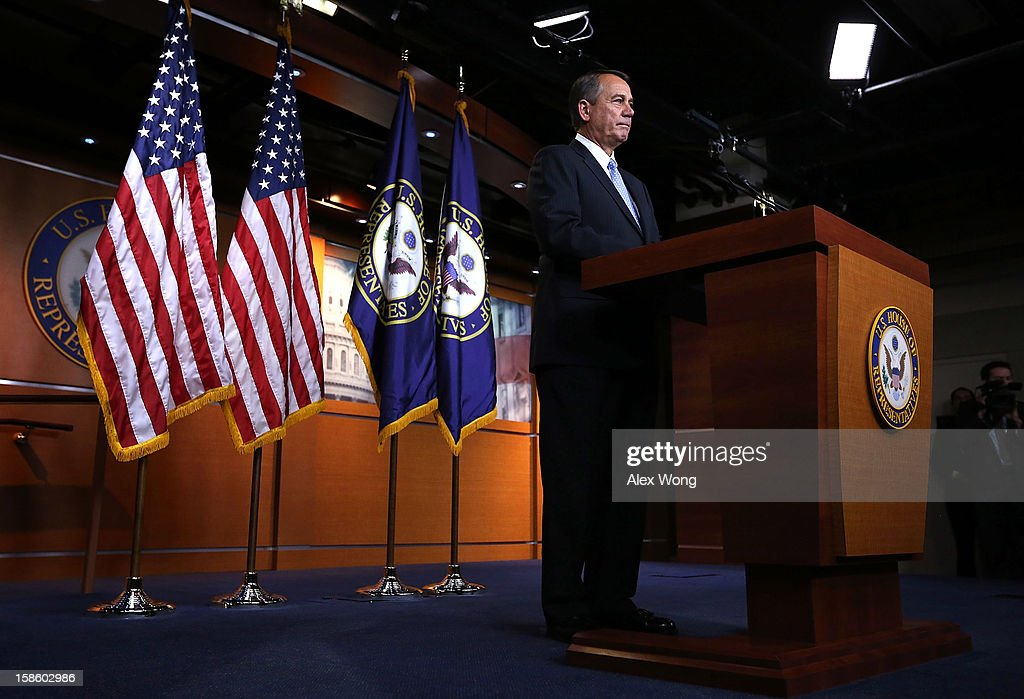U.S. Speaker of the House Rep. <a gi-track='captionPersonalityLinkClicked' href=/galleries/search?phrase=John+Boehner&family=editorial&specificpeople=274752 ng-click='$event.stopPropagation()'>John Boehner</a> (R-OH) speaks during his weekly news conference December 20, 2012 on Capitol Hill in Washington, DC. Speaker Boehner spoke on the latest development of the fiscal cliff issue and the 'Plan B' that the House will vote on this evening.