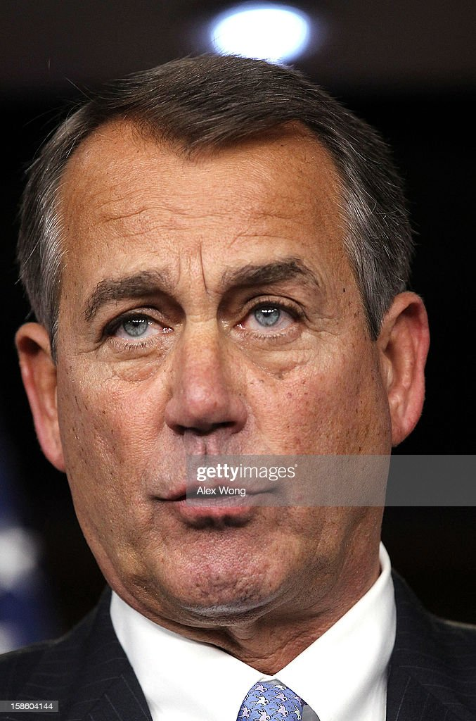 U.S. Speaker of the House Rep. John Boehner (R-OH) speaks during his weekly news conference December 20, 2012 on Capitol Hill in Washington, DC. Speaker Boehner spoke on the latest development of the fiscal cliff issue and the 'Plan B' that the House will vote on this evening.