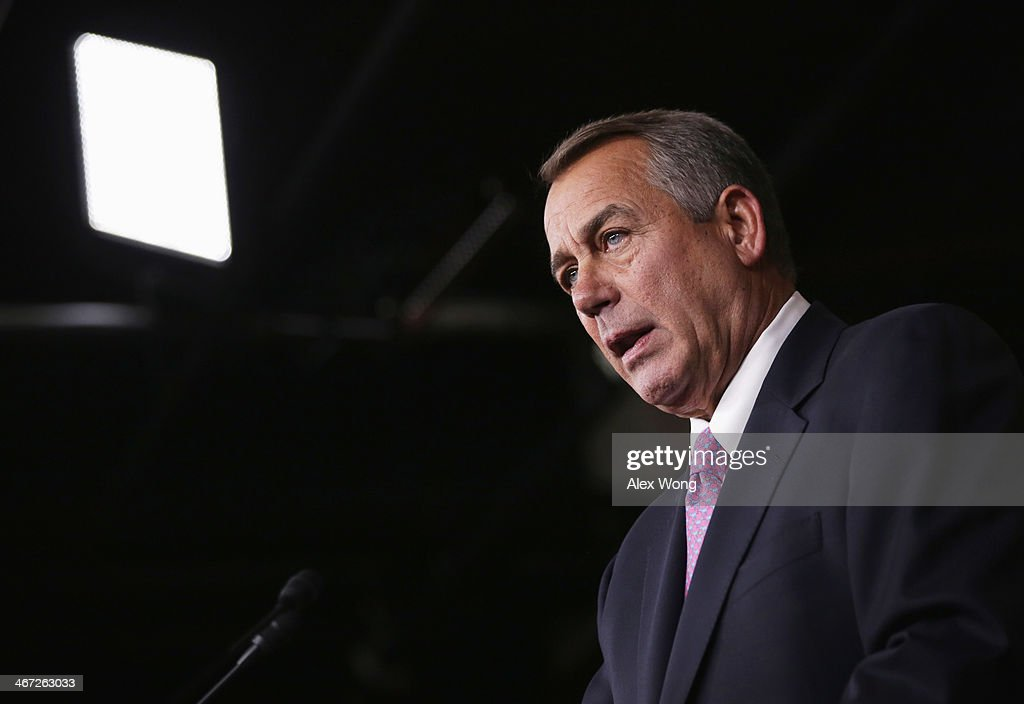 U.S. Speaker of the House Rep. <a gi-track='captionPersonalityLinkClicked' href=/galleries/search?phrase=John+Boehner&family=editorial&specificpeople=274752 ng-click='$event.stopPropagation()'>John Boehner</a> (R-OH) speaks during his weekly news conference February 6, 2014 on Capitol Hill in Washington, DC. Speaker Boehner discussed Republican agenda with members of the media at the news conference.