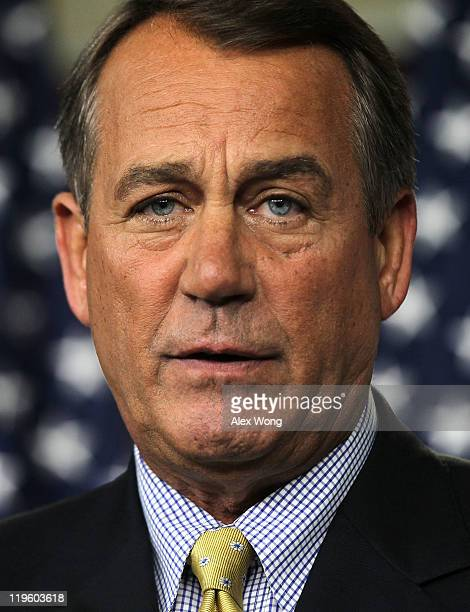S Speaker of the House Rep John Boehner speaks to the media during a statement at the Capitol July 22 2011 on Capitol Hill in Washington DC Boehner...