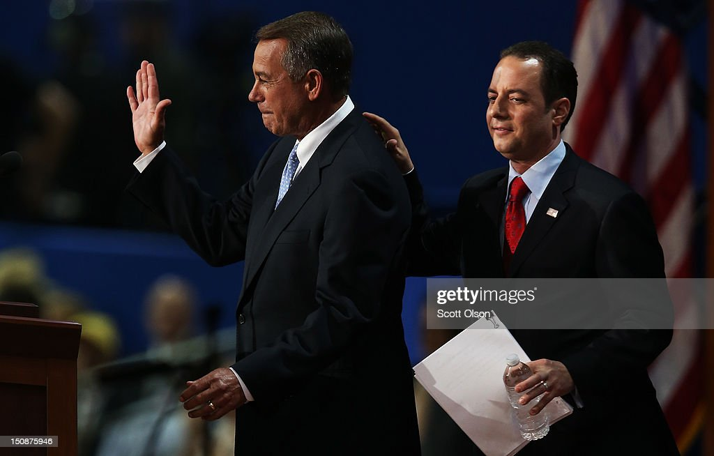 U.S. Speaker of the House Rep. <a gi-track='captionPersonalityLinkClicked' href=/galleries/search?phrase=John+Boehner&family=editorial&specificpeople=274752 ng-click='$event.stopPropagation()'>John Boehner</a> (R-OH) stands on stage with RNC Chairman <a gi-track='captionPersonalityLinkClicked' href=/galleries/search?phrase=Reince+Priebus&family=editorial&specificpeople=7419119 ng-click='$event.stopPropagation()'>Reince Priebus</a> (R) during the Republican National Convention at the Tampa Bay Times Forum on August 28, 2012 in Tampa, Florida. Today is the first full session of the RNC after the start was delayed due to Tropical Storm Isaac.