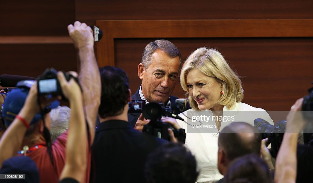 U.S. Speaker of the House Rep. <a gi-track='captionPersonalityLinkClicked' href=/galleries/search?phrase=John+Boehner&family=editorial&specificpeople=274752 ng-click='$event.stopPropagation()'>John Boehner</a> (R-OH) (R) stands with ABC World News anchor <a gi-track='captionPersonalityLinkClicked' href=/galleries/search?phrase=Diane+Sawyer&family=editorial&specificpeople=202252 ng-click='$event.stopPropagation()'>Diane Sawyer</a> on the abbreviated first day of the Republican National Convention at the Tampa Bay Times Forum on August 27, 2012 in Tampa, Florida. The RNC is scheduled to convene today, but will hold its first full session tomorrow after being delayed due to Tropical Storm Isaac.