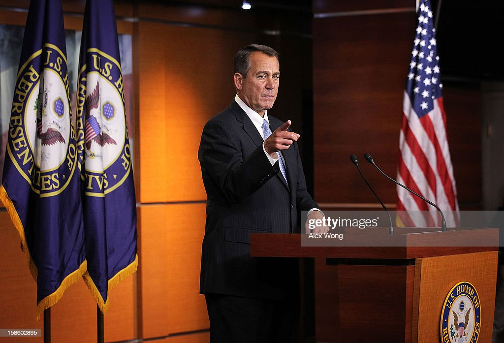 U.S. Speaker of the House Rep. <a gi-track='captionPersonalityLinkClicked' href=/galleries/search?phrase=John+Boehner&family=editorial&specificpeople=274752 ng-click='$event.stopPropagation()'>John Boehner</a> (R-OH) takes questions during his weekly news conference December 20, 2012 on Capitol Hill in Washington, DC. Speaker Boehner spoke on the latest development of the fiscal cliff issue and the 'Plan B' that the House will vote on this evening.