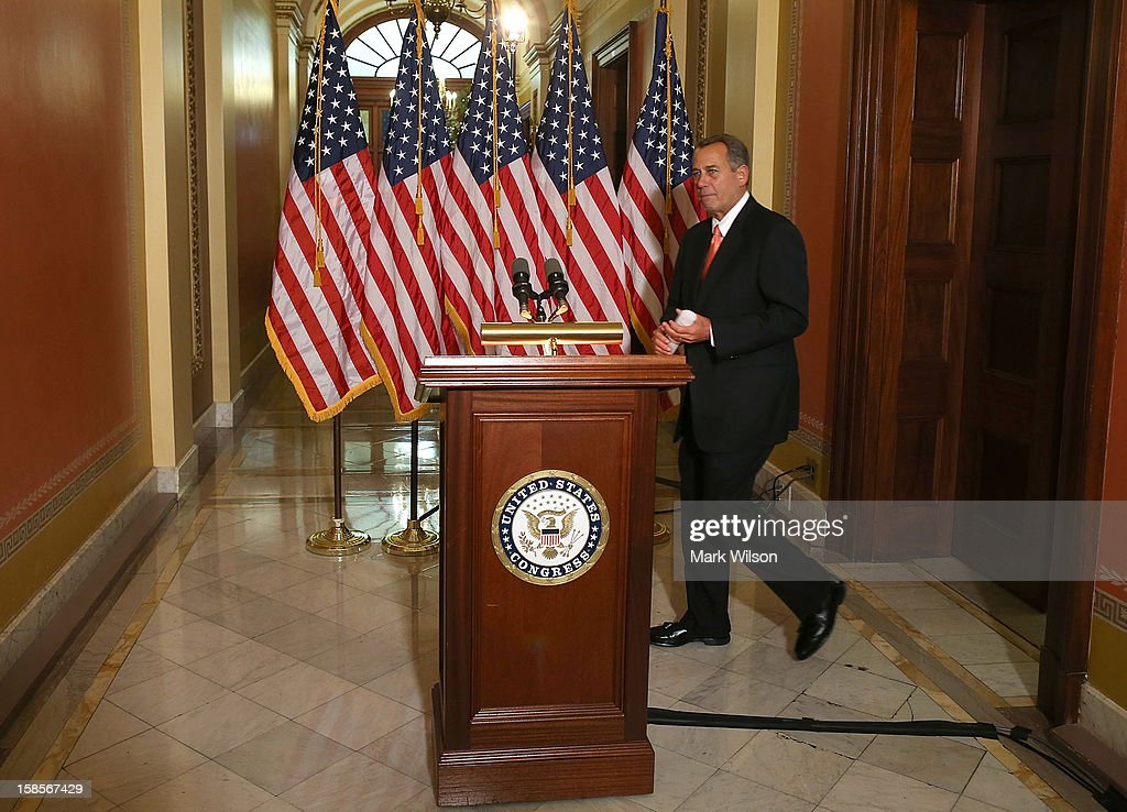 U.S. Speaker of the House Rep. <a gi-track='captionPersonalityLinkClicked' href=/galleries/search?phrase=John+Boehner&family=editorial&specificpeople=274752 ng-click='$event.stopPropagation()'>John Boehner</a> (R-OH) walks up to the podium to make a statement to the media at the U.S. Capitol on December 19, 2012 in Washington, DC. Speaker Boehner spoke about the ongoing talks with the White House on the so-called 'fiscal cliff.'