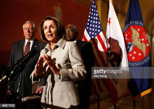 S Speaker of the House Rep Nancy Pelosi speaks to the media as House Majority Leader Rep Steny Hoyer and House Majority Whip Rep James Clyburn listen...