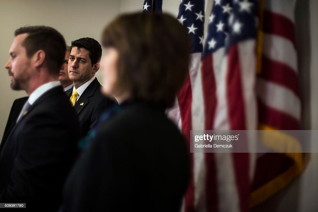 U.S. Speaker of the House Rep. <a gi-track='captionPersonalityLinkClicked' href=/galleries/search?phrase=Paul+Ryan+-+Politician&family=editorial&specificpeople=7641535 ng-click='$event.stopPropagation()'>Paul Ryan</a> (R-WI), along with Chairman of the House Republican Conference Rep. <a gi-track='captionPersonalityLinkClicked' href=/galleries/search?phrase=Cathy+McMorris+Rodgers&family=editorial&specificpeople=5685653 ng-click='$event.stopPropagation()'>Cathy McMorris Rodgers</a> (R-WA), watch as Rep. Rodney Davis (R-IL) speaks to reporters at a press event at the Capitol on February 10, 2016 in Washington, DC. The House GOP leaders spoke about President Obama's fiscal year 2017 budget that was released the day before.