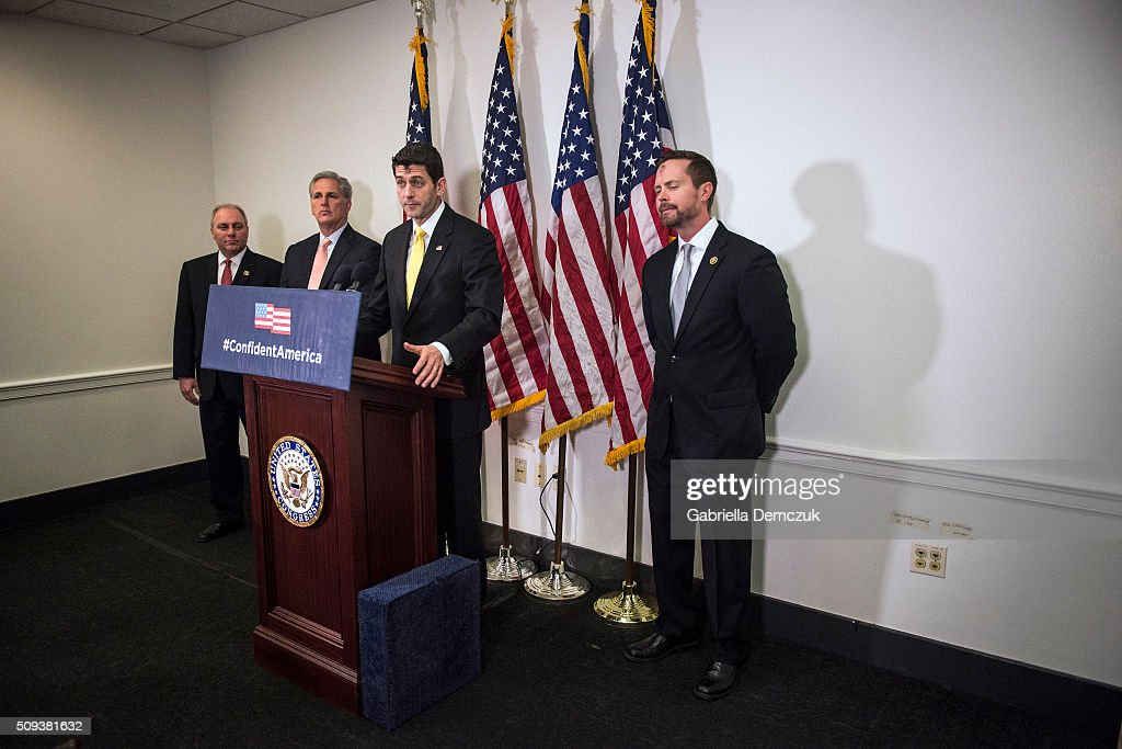 U.S. Speaker of the House Rep. <a gi-track='captionPersonalityLinkClicked' href=/galleries/search?phrase=Paul+Ryan+-+Politician&family=editorial&specificpeople=7641535 ng-click='$event.stopPropagation()'>Paul Ryan</a> (R-WI), along with (L-R) Majority Whip <a gi-track='captionPersonalityLinkClicked' href=/galleries/search?phrase=Steve+Scalise&family=editorial&specificpeople=5482687 ng-click='$event.stopPropagation()'>Steve Scalise</a> (R-LA), House Majority Leader Rep. <a gi-track='captionPersonalityLinkClicked' href=/galleries/search?phrase=Kevin+McCarthy+-+U.S.+Congressman&family=editorial&specificpeople=6726000 ng-click='$event.stopPropagation()'>Kevin McCarthy</a> (R-CA) and Rep. Rodney Davis (R-IL), speaks to reporters at a press event at the Capitol on February 10, 2016 in Washington, DC. The House GOP leaders spoke about President Obama's fiscal year 2017 budget that was released the day before.