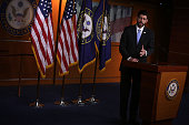 S Speaker of the House Rep Paul Ryan conducts his weekly news briefing December 17 2015 on Capitol Hill in Washington DC The House is scheduled to...