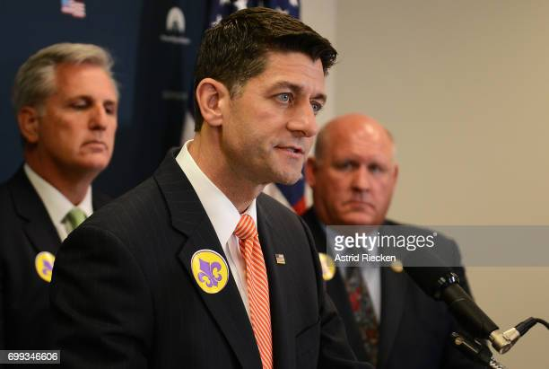 S Speaker of the House Rep Paul Ryan flanked by House Majority Leader Kevin McCarthy and US Rep Glenn Thompson speaks to the media on Capitol Hill...