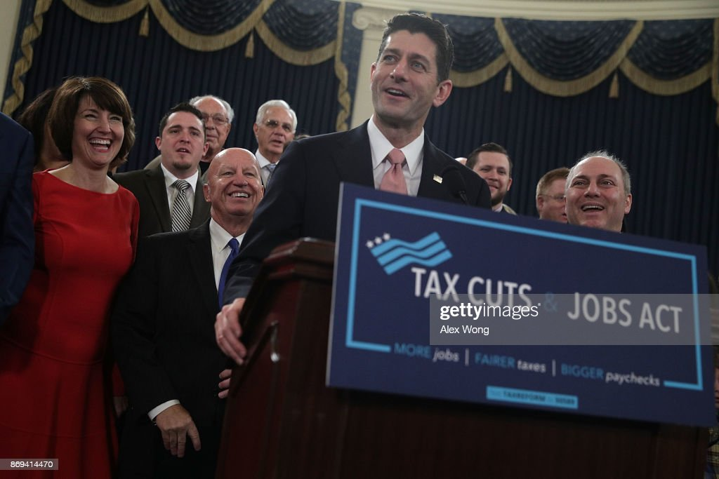 U.S. Speaker of the House Rep. Paul Ryan (R-WI) (C) speaks as (L-R) Rep. Cathy McMorris Rodgers (R-WA), Chairman of House Ways and Means Committee Rep. Kevin Brady (R-TX) and House Majority Whip Rep Steve Scalise (R-LA) listen during a news conference on the tax reform legislation November 2, 2017 on Capitol Hill in Washington, DC. House Republicans have unveiled the tax reform legislation today.