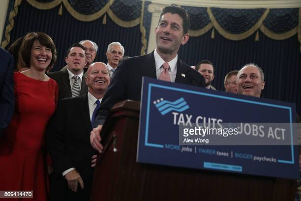 S Speaker of the House Rep Paul Ryan speaks as Rep Cathy McMorris Rodgers Chairman of House Ways and Means Committee Rep Kevin Brady and House...