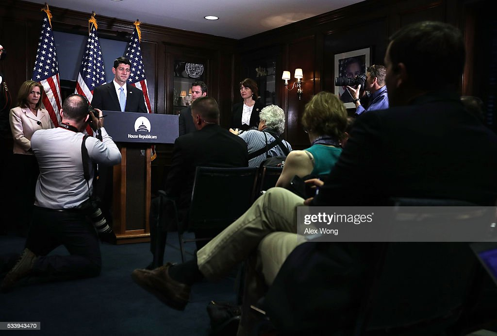Speaker of the House Rep. <a gi-track='captionPersonalityLinkClicked' href=/galleries/search?phrase=Paul+Ryan+-+Politician&family=editorial&specificpeople=7641535 ng-click='$event.stopPropagation()'>Paul Ryan</a> (R-WI) (2nd L) speaks as (L-R) Rep. Lynn Jenkins (R-KS), Rep. Adam Kinzinger (R-IL) and Chair of House Republican Conference Rep. <a gi-track='captionPersonalityLinkClicked' href=/galleries/search?phrase=Cathy+McMorris+Rodgers&family=editorial&specificpeople=5685653 ng-click='$event.stopPropagation()'>Cathy McMorris Rodgers</a> (R-WA) look on during a media availability at the Republican National Committee (RNC) headquarters May 24, 2016 in Washington, DC. The House Republican Conference held a meeting prior to the media availability to discuss party matters.