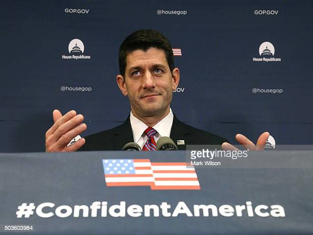 S Speaker of the House Rep Paul Ryan speaks to the media after his weekly meeting with House Republicans on Capitol Hill January 6 2016 in Washington...