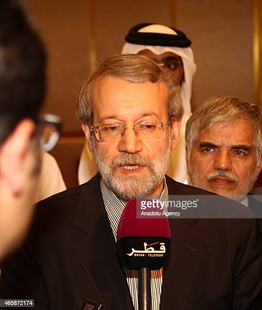 Speaker of the Iran's Parliament Ali Larijani gives a speech during a press conference at Sheraton Hotel after his official meetings in Doha Qatar on...