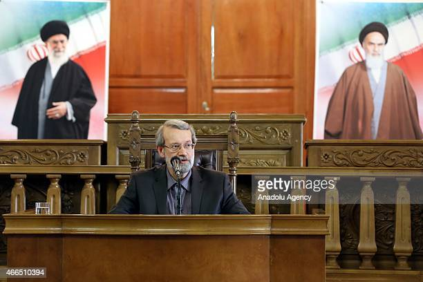 Speaker of the Iran's Parliament Ali Larijani gives a speech during a press conference at parliament building in Tehran Iran on March 16 2015