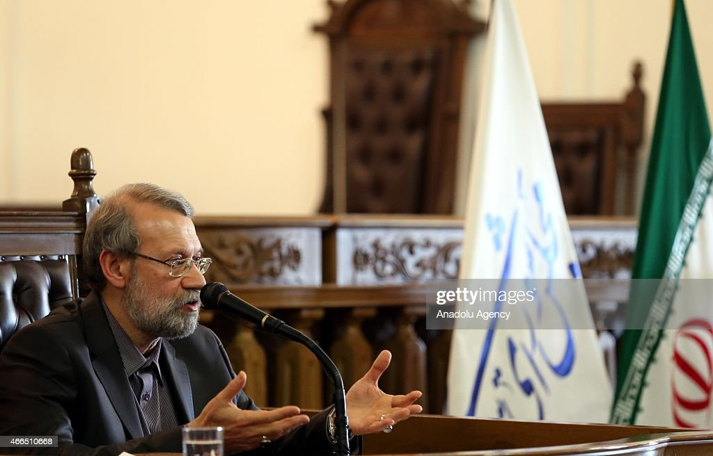 Speaker of the Iran's Parliament <a gi-track='captionPersonalityLinkClicked' href=/galleries/search?phrase=Ali+Larijani&family=editorial&specificpeople=572030 ng-click='$event.stopPropagation()'>Ali Larijani</a> gives a speech during a press conference at parliament building in Tehran, Iran, on March 16, 2015.