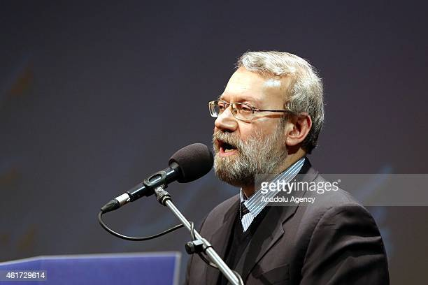 Speaker of the Islamic Consultative Assembly of Iran Ali Larijani gives a speech during the 5th International conference of Gaza Symbol of Resistance...