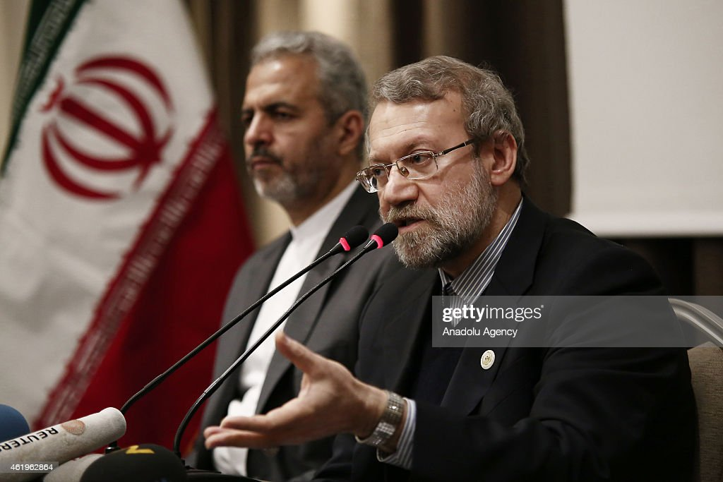 Speaker of the Islamic Consultative Assembly of Iran, <a gi-track='captionPersonalityLinkClicked' href=/galleries/search?phrase=Ali+Larijani&family=editorial&specificpeople=572030 ng-click='$event.stopPropagation()'>Ali Larijani</a> speaks to the media at Parliamentary Union of the OIC Member States conference at Hilton Istanbul Bomonti Hotel in Istanbul, Turkey on January 22, 2015.