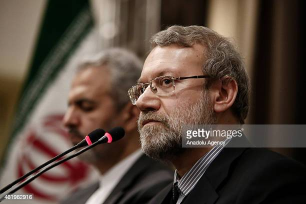 Speaker of the Islamic Consultative Assembly of Iran Ali Larijani speaks to the media at Parliamentary Union of the OIC Member States conference at...