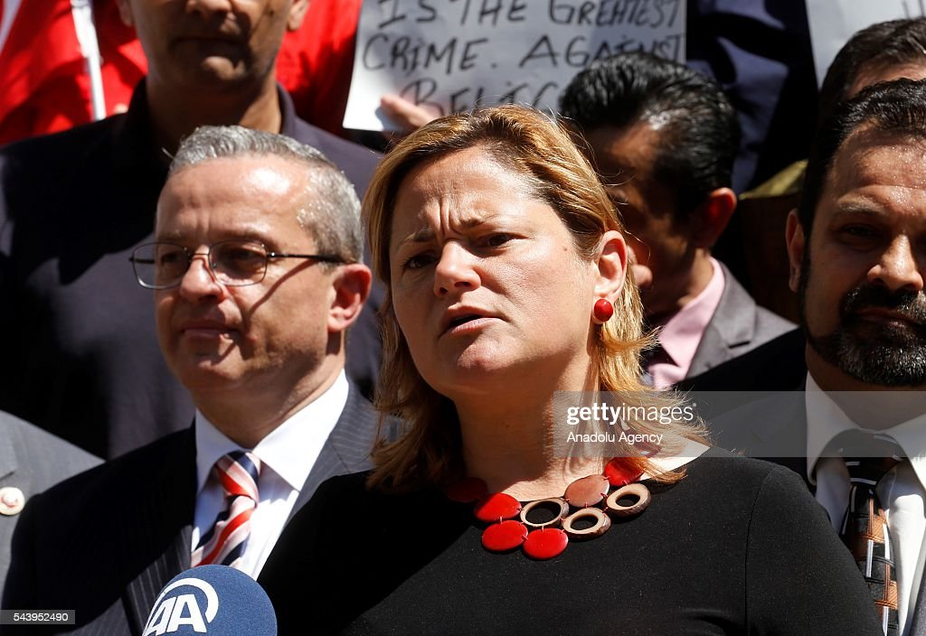 Speaker of the New York City Council, Melissa Mark-Viverito gives a speech as people from varied societies attend a commemoration ceremony, held for the victims of recent Istanbul Ataturk Airport terrorist attack, in front of the New York City Hall in New York, USA on June 30, 2016.