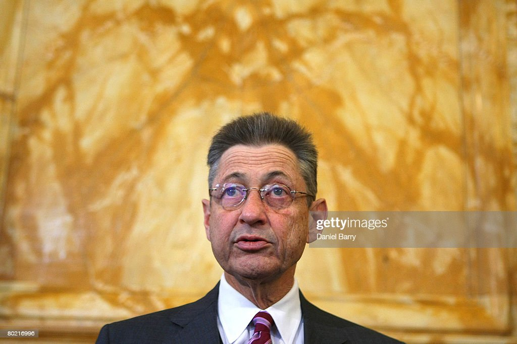 Speaker of the New York State Assembly Sheldon Silver speaks to members of the media in the State Capitol March 12, 2008 in Albany, New York. New York state Governor Eliot Spitzer announced his resignation today after various media reports have linked him to a prostitution ring. New York Lieutenant Governor David Paterson will take over for Spitzer when his resignation goes into effect Monday, March 17, 2008.
