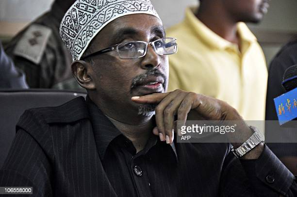 Speaker of the Somali transitional government Sharif Hassan Aden speaks to lawmakers on October 31 2010 after Somalia's parliament approved Mohamed...