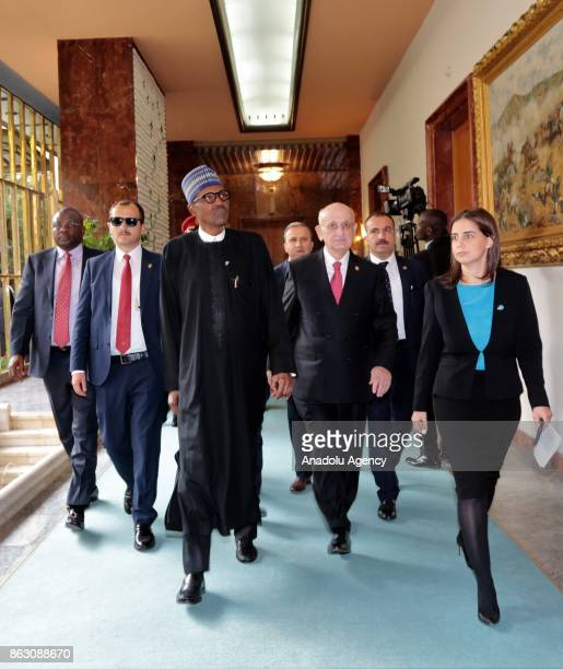 Speaker of the Turkey's Grand National Assembly Ismail Kahraman accompanies President of Nigeria Muhammadu Buhari as they tour the Grand National...