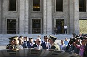 Speaker of the Turkish Parliament Ismail Kahraman and Chief of the General Staff of the Turkish Armed Forces Hulusi Akar inspect the damaged areas of...