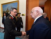 Speaker of the Turkish Parliament Ismail Kahraman meets Commandersinchief of armed forces at the Turkish Grand National Assembly in Ankara Turkey on...