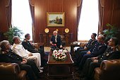 Speaker of the Turkish Parliament Ismail Kahraman meets with Chief of the General Staff of the Turkish Armed Forces Hulusi Akar at the Turkish Grand...