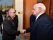 Speaker of the Turkish Parliament Ismail Kahraman meets with Deputy Chief of the Turkish General Staff Yasar Guler at the Turkish Grand National...