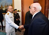 Speaker of the Turkish Parliament Ismail Kahraman meets with Commander of the Turkish Naval Forces Admiral Bulent Bostanoglu at the Turkish Grand...