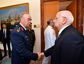 Speaker of the Turkish Parliament Ismail Kahraman meets with Commander of the Turkish Air Forces Abidin Unal at the Turkish Grand National Assembly...