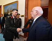 Speaker of the Turkish Parliament Ismail Kahraman meets with Turkish Land Forces Commander Salih Zeki Colak at the Turkish Grand National Assembly in...