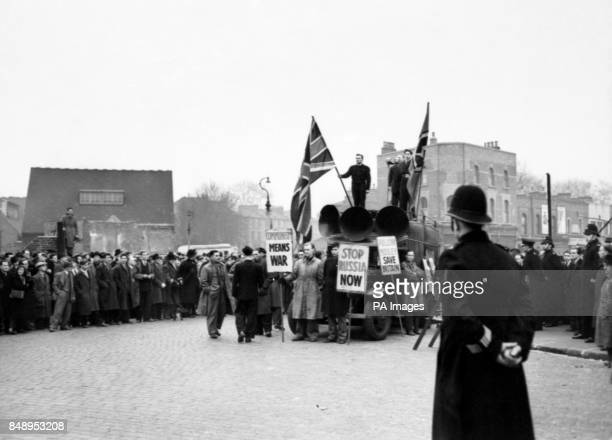 A speaker of the Union Movement addresses followers of Sir Oswald Mosley from the roof of a van which was surrounded by bodyguards prior to their...