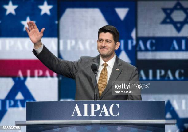 Speaker of the United States House of Representatives Paul Ryan speaks onstage at the AIPAC 2017 Convention on March 27 2017 in Washington DC