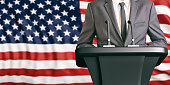 Businessman or politician making speech on USA flag background. 3d illustration