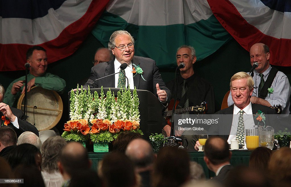 Speaker Robert DeLeo. Hosted by Boston City Councilor Bill Linehan, the annual South Boston St. Patrick's Day Breakfast is held at the Boston Convention and Exhibition Center, on Sunday, March 17, 2013.