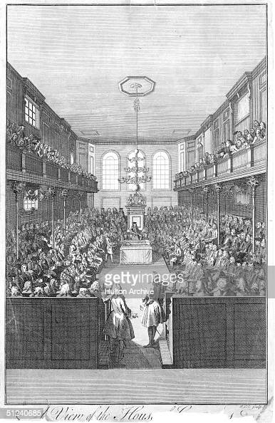 1742 Speaker the Right Honourable Arthur Onslow addresses the assembly in the House of Commons London Original Artwork An engraving by B Cole