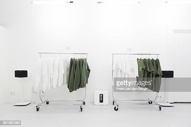 AMSTERDAM NETHERLANDS AUGUST 19 SOMOS speakers at the Kanye West temporary PABLO store at the Rozengracht on August 19 2016 in Amsterdam the...