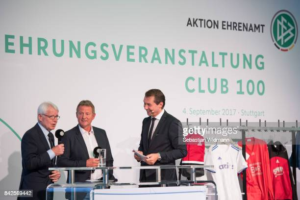 Speakers during the Awarding Ceremony at the 20th anniversary of Volunteering for the Club 100 at MercedesBenz Museum on September 4 2017 in...