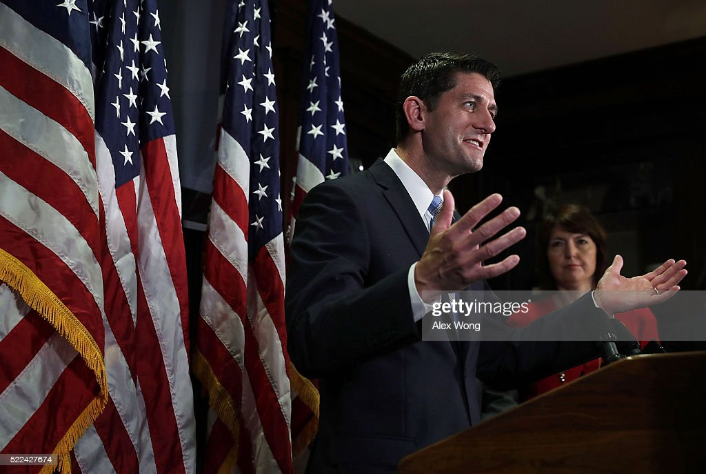 U.S. Speakers of the House Rep. <a gi-track='captionPersonalityLinkClicked' href=/galleries/search?phrase=Paul+Ryan+-+Politician&family=editorial&specificpeople=7641535 ng-click='$event.stopPropagation()'>Paul Ryan</a> (R-WI) (L) speaks as Rep. <a gi-track='captionPersonalityLinkClicked' href=/galleries/search?phrase=Cathy+McMorris+Rodgers&family=editorial&specificpeople=5685653 ng-click='$event.stopPropagation()'>Cathy McMorris Rodgers</a> (R-WA) (R) listens during a media availability after a Republican Conference meeting April 19, 2016 at the Republican National Committee headquarters on Capitol Hill in Washington, DC. The House Republicans held a meeting to discuss GOP agenda.