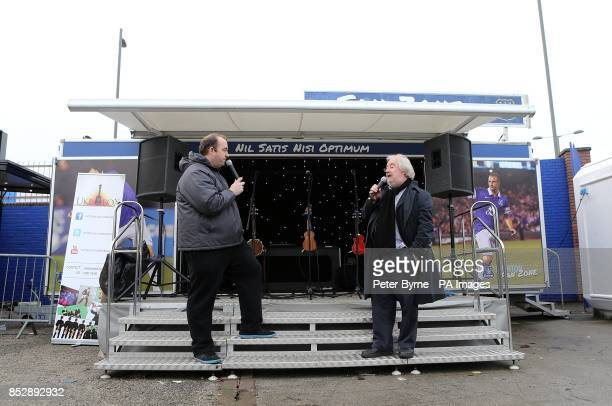Speakers on the roadshow set in the Everton Fanzone before the match