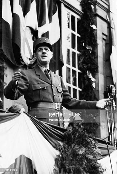 Speaking from the balcony of the town hall in Strasbourg General Charles de Gaulle urges the people of France to call a truce in their political...